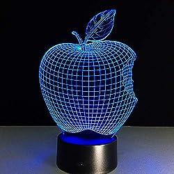 Bbdeng 3D-Nachtlicht Apfel Essen Led-Touch-Farbwechsel Optische T?Uschungslampe Kreative Kinder Mit Schlafender Tischlampe Schlafzimmer Vision Umgebungslichtusb
