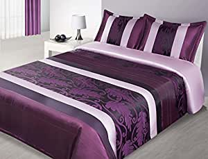 170x210 cm violett lila creme beige Tagesdecke Bettüberwurf mit Steppungen und 1 Kissenbezug 50x70 Satin Neuheit Schnäppchen Lucy