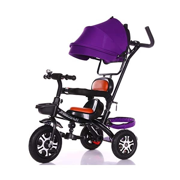 BGHKFF 4 In 1 Tricycle Stable 6 Months To 6 Years Non-Slip Kids Tricycle Detachable And Adjustable Push Handle Folding Sun Canopy Childrens Tricycles Maximum Weight 60 Kg,Purple BGHKFF ★Material: steel + cotton and linen, suitable for children from 6 months to 6 years old, the maximum weight is 60 kg ★ 4 in 1 multi-function: can be converted into a stroller and a tricycle. Remove the hand putter and awning as a tricycle. ★Safety design: front wheel metal connector, rear wheel brake, lock rear wheel, safety guardrail can be opened, non-slip handle, 3rd gear adjustment awning, thick sponge pillow 1