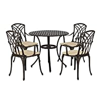 PananaHome Cast Aluminium Garden Table and Chairs 4 Seater Patio Furniture Set with Cushions Home Outdoor Balcony