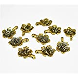 Embroiderymaterial Jewellery Making Charms,Findings(Flower Shape Pendant, Pack of 14 Pieces)