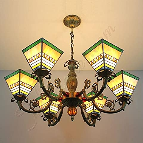 Continental Yellow Fresh Minimalist Square Tiffany Stained Glass Chandeliers Pendant Light With 6 Lights