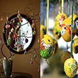 100 Deko-Eier Ostern [6 cm, Kunststoff] + 100 Aufhänger für Ostereier + 10 Schaschlik-Spieße fürs Marmorierenzum oder malen, Osterdekoration - 4