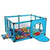 Baby-Laufstall mit Fußballnetz, Tragbarer Kinderspielplatz Sicherheits-Spielzaun Geeignet für 1-5 Jahre altes Baby, 120x100 cm (Farbe : Blau)