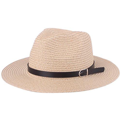 WELSUN Sombrero de vaquero con gorro enrollado Fedora Sombrero Hombre Gorras (Color : Khaki, Size : 56-58cm)
