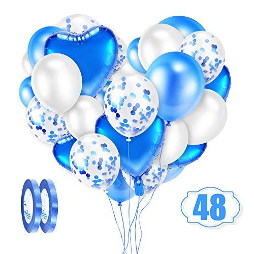 Crislove Blau Luftballon Set, 48 Stück Konfetti Luftballons Set, Folienballon & Latex Ballons mit Bändern für Geburtstag, Hochzeit, Babyparty, Dekoration, Geschäftstätigkeit