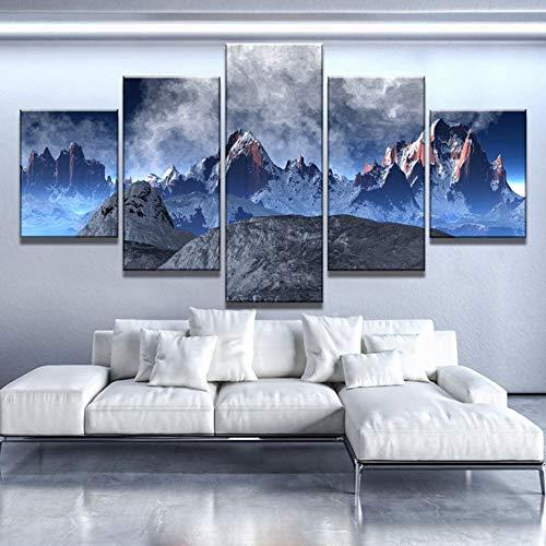 lsweia mit Holzrahmen/ohne HolzrahmenLeinwand Wandkunst Poster Wohnkultur 5 Stücke Schnee Berge Malerei Modulare Drucke Abstrakte Landschaft Bilder Wohnzimmer