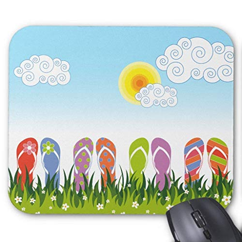 Bunter Sommer Flip Flops Spaß im Sonnengarten Mauspad 18 x 22 cm