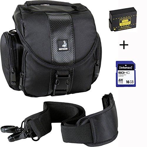 Sparset Fototasche Esperanza ET145 Tasche schwarz + Ersatz-Akku DMW-BLC12 + 16GB SD Speicher-Karte für Panasonic Lumix DMC-FZ200 DMC-FZ300 DMC-FZ1000 DMC-G5 G6 G7 G70 GH2 GX8