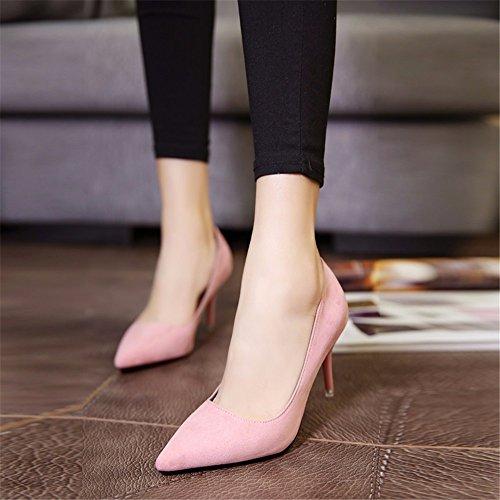 HXVU56546 Durante La Primavera E In Autunno Tacchi Alti Calzature Donna Single Satin Scarpe Scarpe Da Lavoro Pink