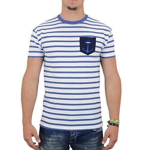Derbe Hamburg T-Shirt Herren Pocket Tee weiss blau - schmaler,  figurbetonter Schnitt Weiss
