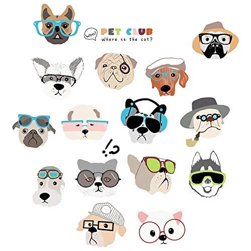 XiLi Joy Wandsticker Selbstklebende Abnehmbaren Wandaufkleber Wandtattoos Dekoration für Kinderzimmer Junge Mädchen Schlafzimmer Wohnzimmer - Cartoon Dog Pet Club,Tz101122 -