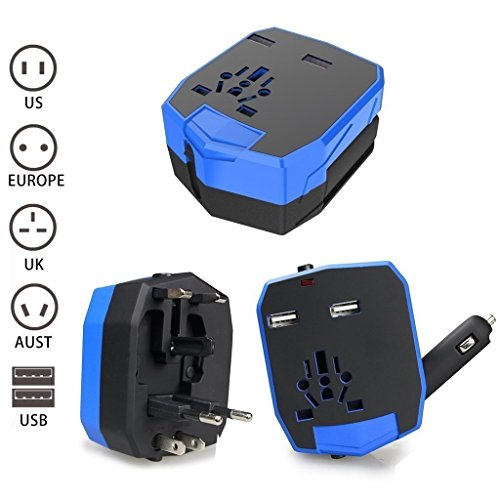 Preisvergleich Produktbild Universal World Travel Adapter mit 2 USB Ports für Handy/Tablet/Kamera/Laptop/Rasierer Best All in One International Travel Plug Adapter Power Wall Ladegerät US/UK/Australien/Europa mit KFZ-Ladegerät