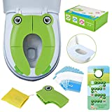 Travel Portable Folding Potty Training Toilet Seat Cover, Non Slip Silicone Pads, Suitable for Kids Baby Boys and Girls,with 10 Packs Disposable Toilet Seat Covers and Potty Training Recording Card