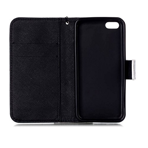 5C Coque, iPhone 5C Coque, Lifeturt [ Mer ] Coque Dragonne Portefeuille PU Cuir Etui en Cuir Folio Housse, Leather Case Wallet Flip Protective Cover Protector, Etui de Protection PU Cuir Portefeuille  E02-Black Dream Catcher129073