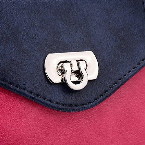 Kroo Pochette Portefeuille en Cuir de Femme avec Bracelet Étui pour Huawei Ascend GX1/G7 Bleu - Blue and Red Rose - Magenta and Blue