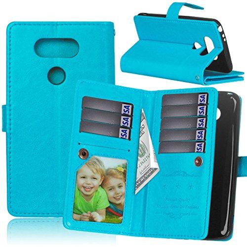 LG G5 hülle,LG G5 Leder Brieftasche Hülle + Kostenlos Syncwire Ladekabel, Fubaoda PU Ledertasche mit Ständerfunktion Kartenfächer für LG G5 (D800 D801 D802 D803) (blau)