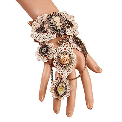OOFAY Gothic Lace Armband, Retro Gear Hand Chain with Ring Women es Jewelry Clothing Accessoires for Festive Ball Halloween Party