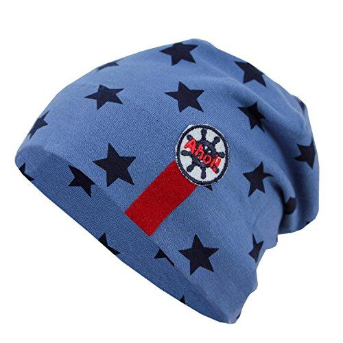 TupTam TupTam Jungen Beanie Mütze Baumwolle Sternenmuster Topfmütze, Farbe: Sterne Dunkelblau/Blau, Größe: 0 - 6 Monate