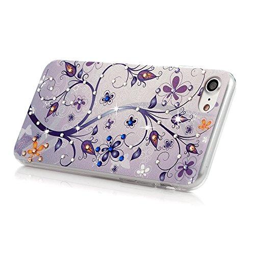 """Mavis's Diary Coque iPhone 7 (4.7"""") PC Rigide Bling Strass Paon Dessin Housse de Protection Étui Téléphone Portable Phone Case Cover+Chiffon motif 3"""