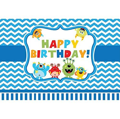 OERJU 2,2x1,5m Geburtstag Hintergrund Cartoon-Monster Alles Gute zum Geburtstag Streifenmuster Geburtstagsparty Wanddekoration Hintergrund Kuchen zerschlagen Portraitfotografie (Kuchen Hohen Geburtstag Monster)