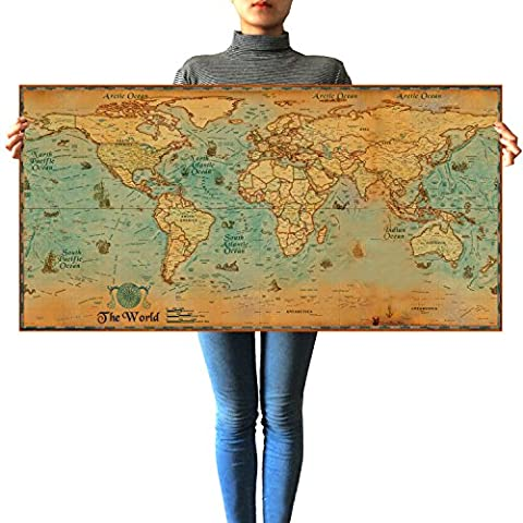 Large Vintage World Map Kraft Paper Paint Retro Navigation Ancient