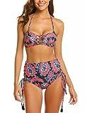 Damen Böhmische Bikini Hohe Taille Neckholder Bikini-Set Klassische Retro Beachwear Bademode Blumendruck Quaste Swimsuit Tankini Zweiteilig BadeanzugGr.XX-Large-W-rot