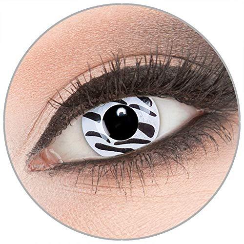 Farbige weiß 'Zebra' Kontaktlinsen von 'Evil Lens' zu -