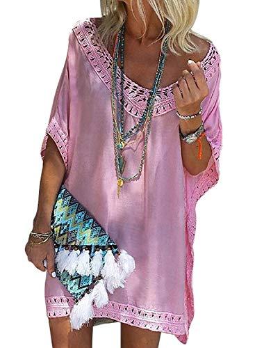 Happy Sailed Damen Kurzarm V-Ausschnitt Bikini Cover Up Strandkleid Bikinikleid Beachwear S-XL