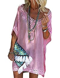 b922f2f20d GOSOPIN Womens Swimwear V Neck Crochet Bikini Cover up Boho Solid Beach  Dress
