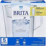 Brita 689358587687 Water Pitcher, Slim, 5 Cup Capacity, Includes One Advanced Filter-White, Size