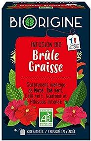 BiOrigine – Infusion Brûle-graisse – Maté & thé vert – Ingrédients d'origine naturelle – Fabriqué en F