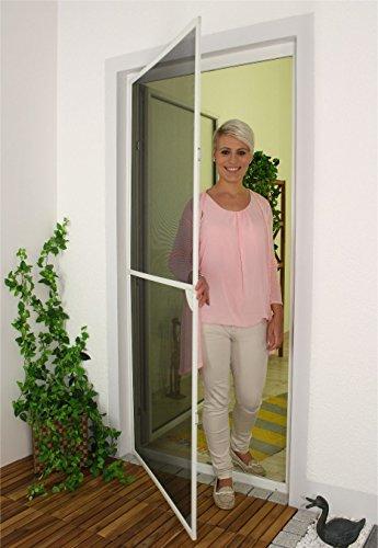 1PLUS Insektenschutz Alu Rahmen System basis für Türen in verschiedenen Größen und Farben (120 x 240cm, Weiß) (Scharnier Montieren Linken)