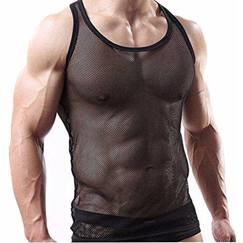 YiZYiF Herren Unterhemd aus Netz Transparent Unterwäsche Stretch Ringer T-shirt Tank Top Achselshirt Clubwear M-XL A- Schwarz XL (Mesh-tank)
