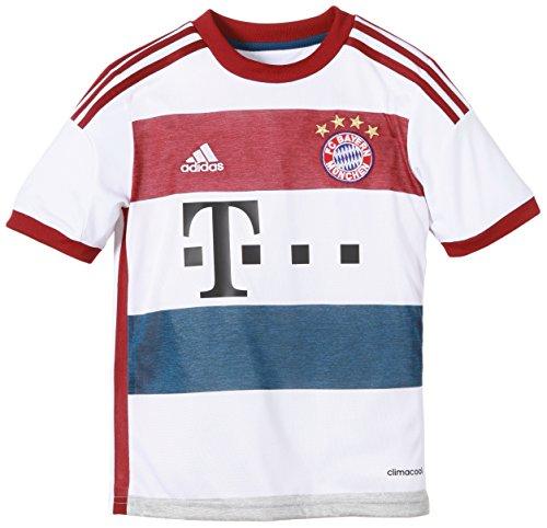 adidas Jungen Spieler-Trikot FC Bayern München Replica Auswärts White/Mid Grey S14/Collegiate Burgundy/Tribe Blue S14, 164 - Adidas Tiro Training Jersey