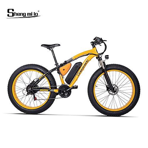 Shengmilo-MX02 26inch Fat Tire Electric Bike 1000W / 500W Beach Cruiser Mens Women Mountain e-Bike Pedal Assist 48V (Gelb (eine Batterie), 1000w China Motor)