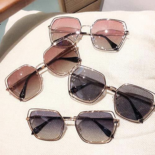 BHLTG Polarisierte Sonnenbrille Männer und Frauen Mode Polygon rundes Gesicht war dünn hohle Sonnenbrille Outdoor-Sport Reiten Spiegel-1 fahren