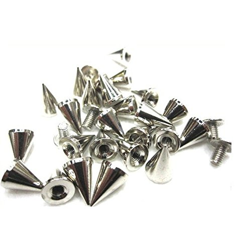 sungpunet 100pcs 7 x 10 mm plateado Cono picos Screwback remaches tachuelas DIY Craft Cool Punk para bolsa de decoración de zapatos