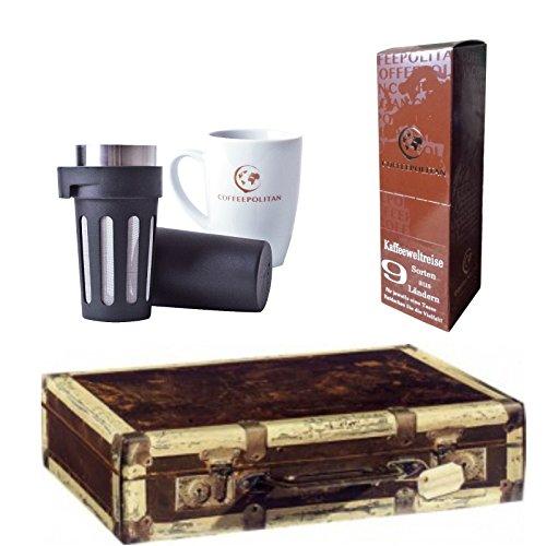 Coffeepolitan Premium-Geschenk Kaffee-Weltreise mit Zubereitungsset - 9 Kaffeesorten aus 9 Ländern - ideal auch als als Geburtstagsgeschenk (Meine Einzige Tasse Kaffee)
