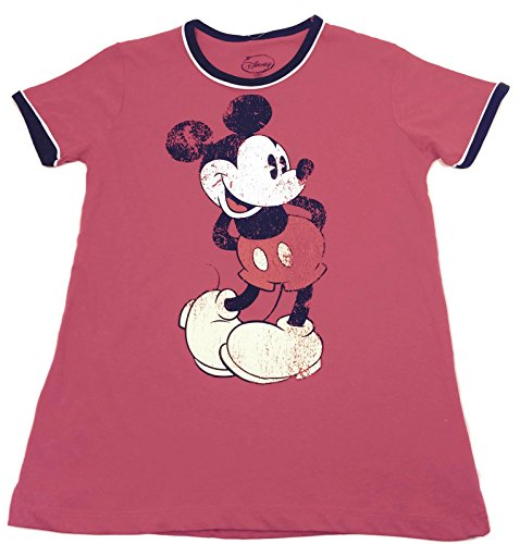 Mickey Mouse Distressed Vintage Ringer Stil Junioren Rot T-Shirt (X-Large (15/17)) (Junioren-ringer T-shirt)
