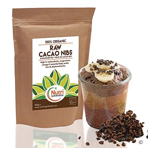 Puntas de Cacao Orgánicas Crudas (Nibs), Chocolate Negro Puro Vegano, Sin Azucares Añadidos, Rico en Magnesio, Ideal para preparar platos, Batidos Energéticos, Barras Energéticas y galletas - 400g