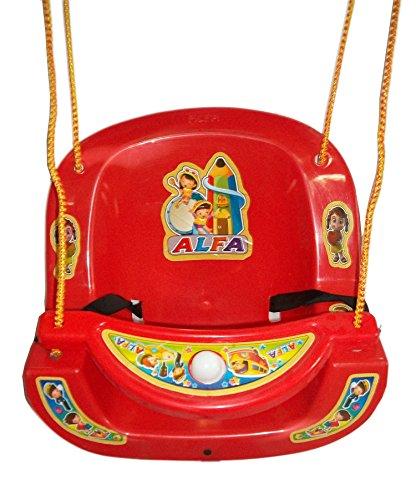 Baby Kids Garden Home Hanging Jhula Play Safe Swing Ride Seat Chair Bucket Outdoor / Indoor Rope Plastic Swinger Children Toddler (Red)