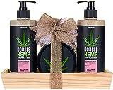 BRUBAKER Cosmetics confezione regalo olio di canapa - set doccia e cura del corpo con fragole fresche e cocco - con vassoio di legno