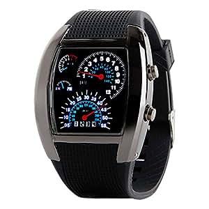 Creative Fashion Aviation Style Turbo Dial Flash LED Watch Best Gift Mens Women Car Meter Digital Watch