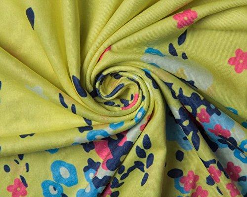 Sommerkleid Damen Knielang Kleider Sommer Strand Kleid A Linien ärmellose Runder Kragen Blumenmusters Sommerkleider Gelb