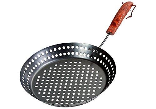 Santos Grillpfanne gelocht rund mit abnehmbarem Griff   Durchmesser 32cm   pulverbeschichtet - Grillkorb, Gemüsekorb, Grillschale