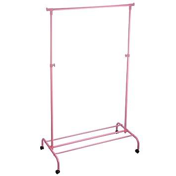 home vida single garment rack adjustable clothes rail metal pink