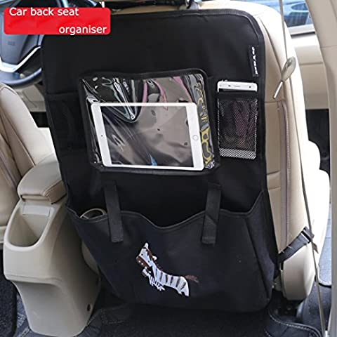 Abimars Organiseur pour siège arrière de voiture multi-poches Voyage Sac de stockage multifonction poches pour iPad, tablette, Snacks et d'autres éléments de bébé (2Pack-black)
