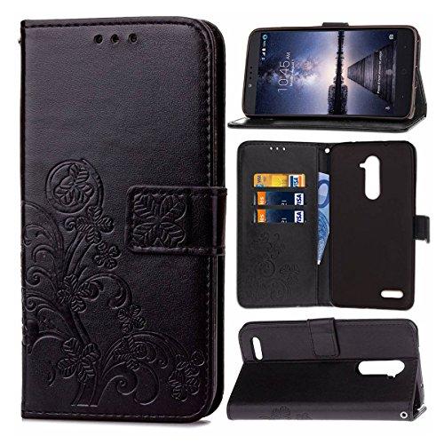 Guran® PU Ledertasche Case für ZTE Zmax Pro Z981 Smartphone Flip Cover Brieftasche und Stent Funktionen Hülle Glücksklee Muster Design Schutzhülle - Schwarz
