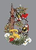 Spitzenbild Fensterbild Vögel am Baumstumpf Plauener Spitze Fensterschmuck